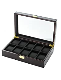 10 Watch Box Case in Ebony Wood w/ Locking Lucite Display Top
