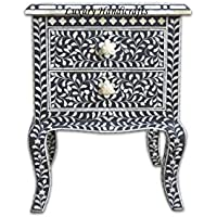 Black Bone Inlay Floral 2 Drawer Curved Leg Bedside