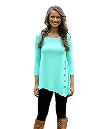 Jade Womens Loose Pullover T Shirt Long Sleeve Cotton Tops Shirt Blouse