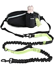 GUIFIER Hands Free Dog Leash with Pouch, Adjustable Waist Belt with Shock Absorbing Bungee Leash for Small Medium and Large Dogs Running Walking Jogging Hiking, Training, Water Bottle Holder Poop Bag
