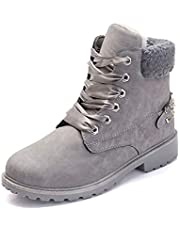 Ankle Boots Women Fur Lined Snow Shoes Ladies Combat Boot Winter Warm Lace Up Outdoor Plat Trainer Bootes Grey 38