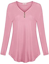 Women's Drop Shoulder Shirt V Neck Top With Buttons