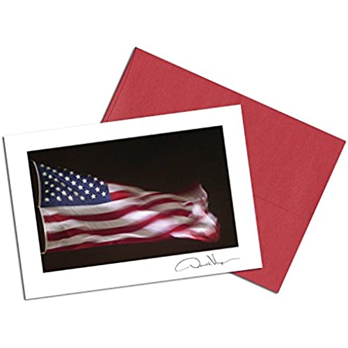 American Flag Note Cards. Night Glory. 3.5x5. Set of 8 Blank Cards Matching Envelopes. Great Birthday Cards, Thank You Notes & Invitations. Best Quality Sales