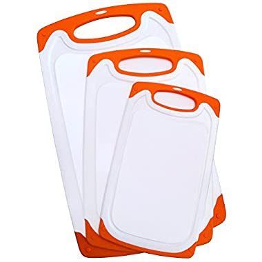 3 Piece Plastic Cutting Board Set for Kitchen with Deep Drip Juice Groove and Non Slip Feet Dishwasher Safe Small Medium and Large Boards