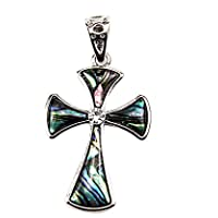 Unique Shell Cross Pendant Silver Plated With Zircon Crystals Jerusalem 1.6