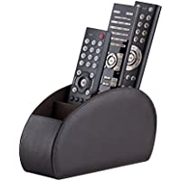 Remote Control Holder by Connected Essentials - Brown TV Remote Caddy Organizer with 5 Spacious Compartments