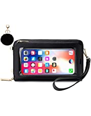 Women Touch Screen Wristlet Wallet, RFID Blocking Small Crossbody Cellphone Purse Shoulder Bag