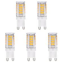 Minger 5W G9 LED Light Bulb, AC100-130V Warm White 3000K Lighting Bulbs Equivalent to 40W Halogen Lamp,Ideal for Cabinet Lighting, Landscaping Lights (5-Pack)
