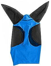 Häst ansikte sköld insekt 19.69x31.50inch fint nätfluga hästmask med öron pansar sköld flygskydd för häst / (blå)