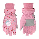 Kids Ski Gloves Waterproof Breathable Warm Snow Snowboard Gloves Girls Boys Winter Cold Weather Mittens with Cartoon Pattern for Children Cycling Sledding Skating Running Sports