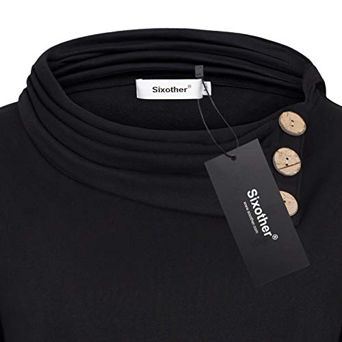 Sixother Black Tunic Hoodie for Women, Easy Fit Novelty Trendy Classic Petite Blouse for Fall Baggy Unique Semi-Formal Career Tops with Button XL Casual Blusas De Mujer De Moda En Oferta