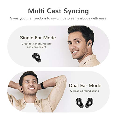 Wireless Earbuds, Letsfit 100Hrs Playtime with Wireless Charging Case, Bluetooth 5.0 Headphones Deep Bass Stereo Waterproof Earphones in-Ear Built-in Mic for Sports and Work