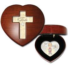 Precious Moments Confirmation Boy Cottage Garden Woodgrain Heart Music Box Plays Jesus Loves Me
