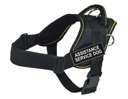 Dean & Tyler Fun Works Harness, Assistance Service Dog, Black with Yellow Trim, XX-Small, Fits Girth Size  18-Inch to 22-Inch