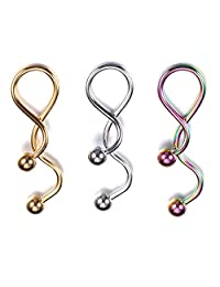 BodyJ4You Spiral Navel Ring Kit Twister Belly Ring Barbell - 3 Pieces