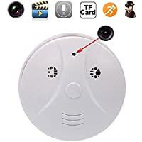 Indoor Hidden Camera Smoke Detector Full HD 1080P Motion Detection Activated Spy Mini Video Recorder Nanny Cameras and Hidden Cameras,White