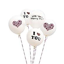 White Wedding Balloons, I Love You Balloons for Wedding Proposal - 5 pcs