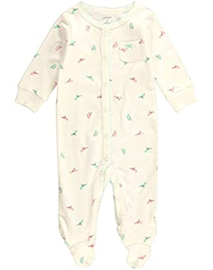 Carters Baby Clothing Outfit Sleep & Play Interlock Ivory Bird Print