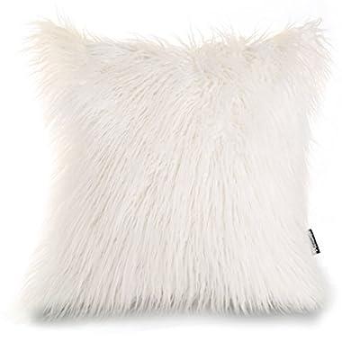 Phantoscope Decorative New Luxury Series Merino Style White Fur Throw Pillow Case Cushion Cover 18  x 18  45cm x 45cm