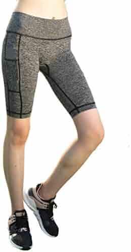Sayhi Women Pockets High Waist Yoga Pants Tight Fitness Leisure Running Pants Yoga Leggings with Knee