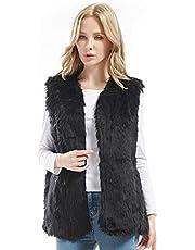 Bellivera Lady Faux Fur Vest Waistcoat Winter Warm Women Sleeveless Coat Outwear Jacket