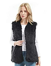 Bellivera Lady Faux Fur Vest Waistcoat Winter Warm Sleeveless Coat Outwear Jacket