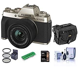 Fujifilm X-T200 Mirrorless Camera with FUJINON XC 15-45mm f/3.5-5.6 Power Zoom Lens, Champagne Gold - Bindle with Camera Case, 64GB SDXC Card, Cleaning Kit, Card Reader, 52mm Filter Kit