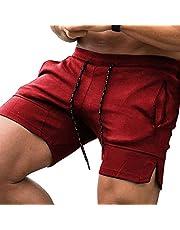 JINIDU Bodybuilding korte broek voor heren, turnbroek, korte work-out, shorts, lichte sportoefeningen, fitness, met zakken met ritssluiting