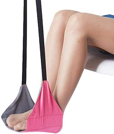 Healifty Portable Foot Sling Portable Foot Sling Travel Footrest Under Desk Foot Long-Distance Hammock Foot Pedal for Office Airplane Flight Train (Pink)
