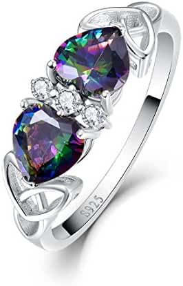 Merthus 925 Sterling Silver Heart Shape Mystic Rainbow Topaz Statement Ring for Women
