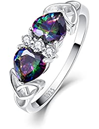 Womens 925 Sterling Silver Created Mystic Rainbow Topaz Celtic Knot Band Ring