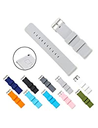 CIVO Quick Release Silicone Watch Bands Soft Rubber Watch Strap Smart Watch Band Stainless Steel Buckle 18mm 20mm 22mm (Light Grey, 20mm)