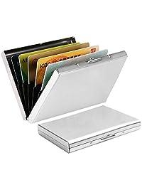 wotu 6 Slots RFID Blocking Wallet, Stainless Steel Credit Card Holder Business Card Holder Case Metal Cards Wallet for Ladies and Men