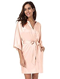 SIORO Kimono Robe Bridesmaid Satin Nightwear Sexy Wedding Sleepwear Short XS-XXL