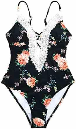 2d1d5eda6c3ce CUPSHE Women's Ladies Vintage Lace Bikini Sets Beach Swimwear Bathing Suit