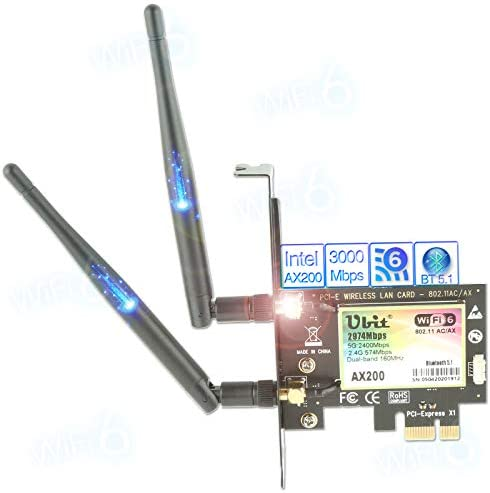 WiFi 6 Card for PC   Wireless PCIe WiFi Card   Max 3000Mbps with Bluetooth 5.1   Intel AX200 Chip,MU-MIMO,OFDMA,Ultra-Low Latency   802.11AX Dual-Band PCI-E Card (for Windows 10, 64-bit Only)
