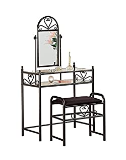 related image of Metal 2-piece Vanity Set Black and