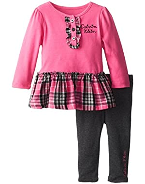 Baby Girls' Plaid Ruffle Tunic with Solid Legging