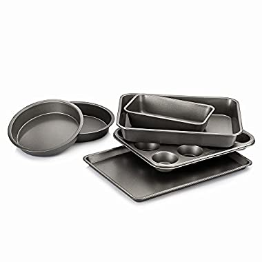 Luvide Nonstick Steel Bakeware Set 6-Pieces Grey Color,Thick,Strong and Long Lasting!