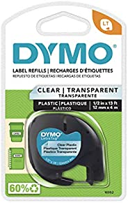 DYMO - DYM16952 Authentic LetraTag Labeling Tape for LetraTag Label Makers, Black Print on Clear pastic Tape,