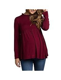 ASTV Women Maternity Tank Tops Womens Solid Long Sleeve Maternity T-Shirt