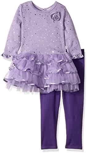 Youngland Girls' Sparkle Brushed Sweater Knit and Mesh Tiered Dress
