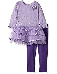 Girls' Sparkle Brushed Sweater Knit and Mesh Tiered Dress