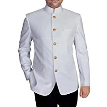 INMONARCH Mens White 2 Pc Mandarin Collar Jodhpuri Suit JO419