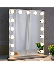 Hollywood Vanity Mirror with Lights,LED Lighted Mirror with 15pcs Dimmable Bulbs,Tabletop or Wall Mounted Dressing Illuminated Beauty Mirror Touch Control and Plug in BEAUTME