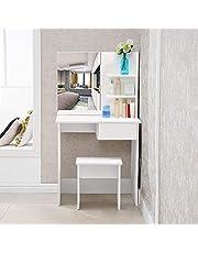 TUKAILAi Witte kaptafel set met kruk en spiegel set witte make-uptafel 1 lade en plank met 2 niveaus voor opberghoek voor slaapkamer