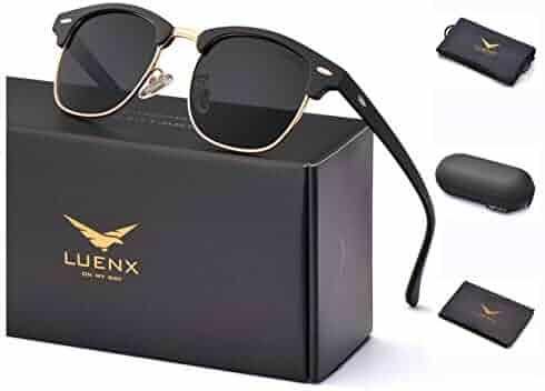 ba8f7b2f4f LUENX Mens Semi Rimless Sunglasses Polarized Womens  UV 400 Protection with  Case