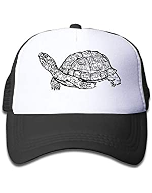 Box Turtle Clipart On Kids Trucker Hat, Youth Toddler Mesh Hats Baseball Cap