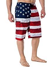 VBRANDED Men's American Flag Board Shorts Assorted US Patriotic Designs