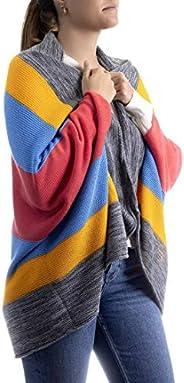Poncho con franjas de colores, Two Sisters ®, unitalla mujer, con franjas colores. Diseno exclusivo hecho en